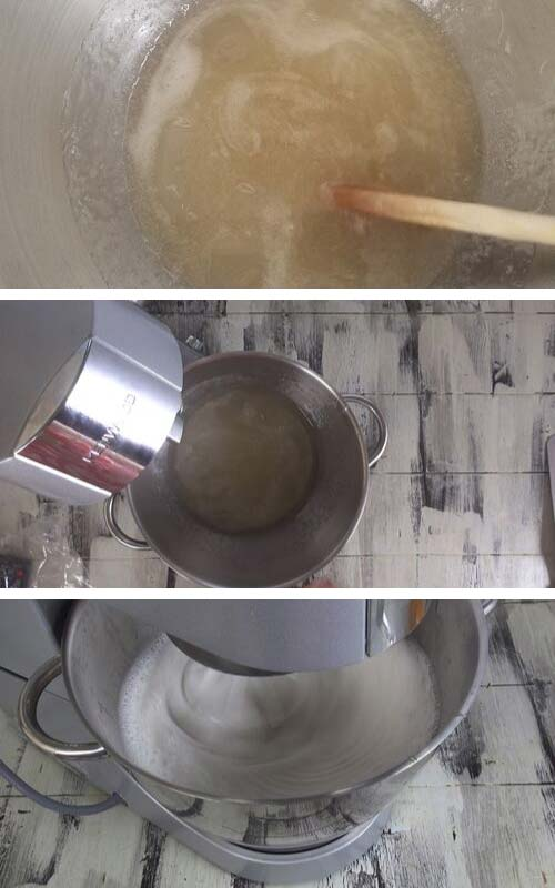Beating sugar syrup and gelatin in a bowl with a wire attachment.