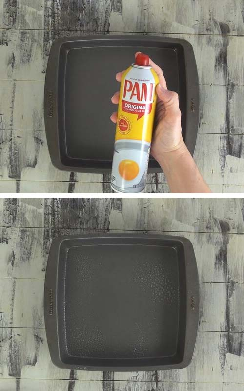 Spraying a square pan with a nonstick spray.