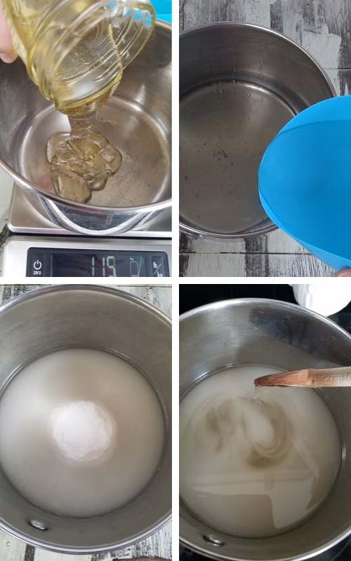 Water, sugar, salt and invert sugar in a stainless steel pot.