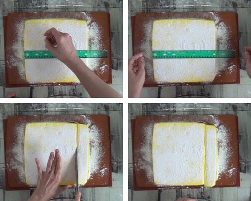 Dividing marshmallow slab into strips.