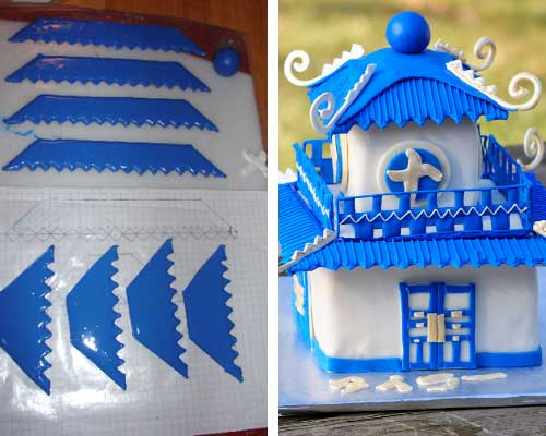 Pagoda Cake decorated with royal icing transfers.