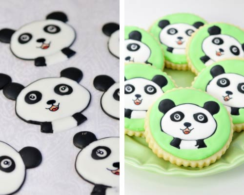 Round cookies decorated with panda royal icing transfers.