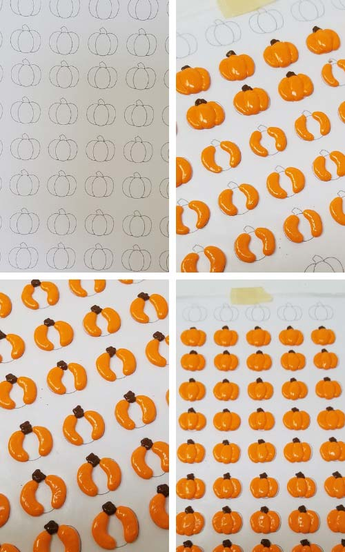 Sugar pumpkins piped on wax paper.