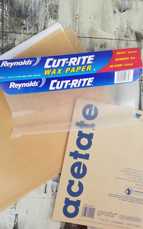 Wax paper, parchment and acetate sheets.