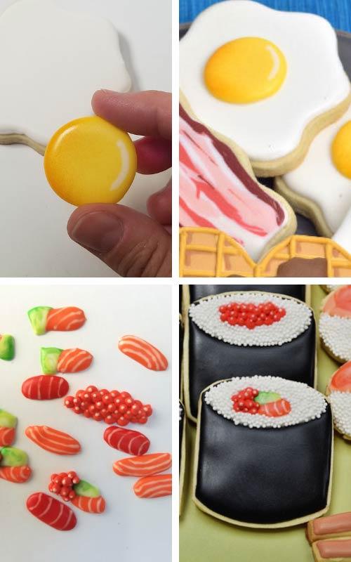 Egg yolk royal icing transfer and mini sushi tuna and salmon royal icing transfers.