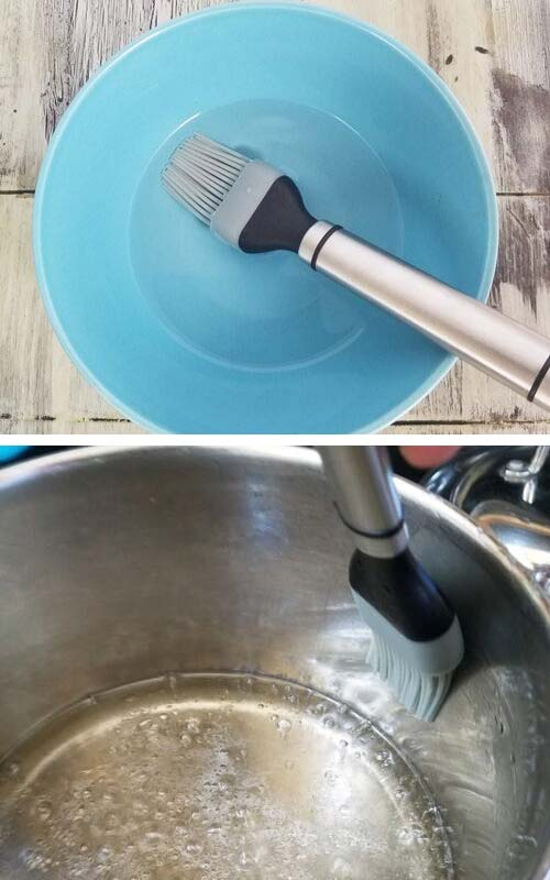 Brushing sides of the pan with pastry brush dipped in water.