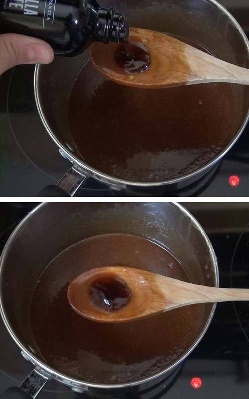 Adding vanilla bean paste into caramel sauce.