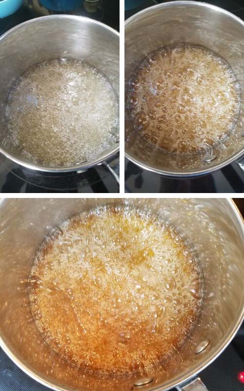 Caramelized sugar syrup in a pan.