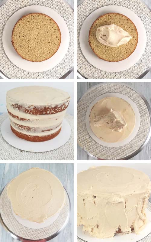 Filling a cake with frosting.