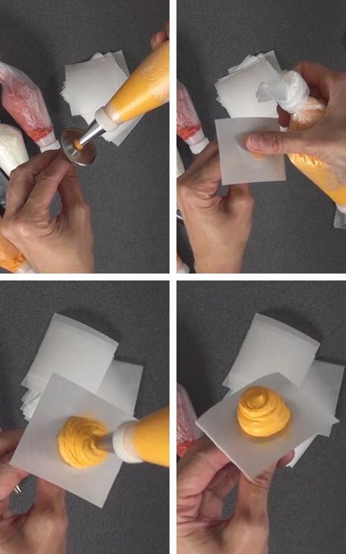 Piping a mount of buttercream onto a flower nail.