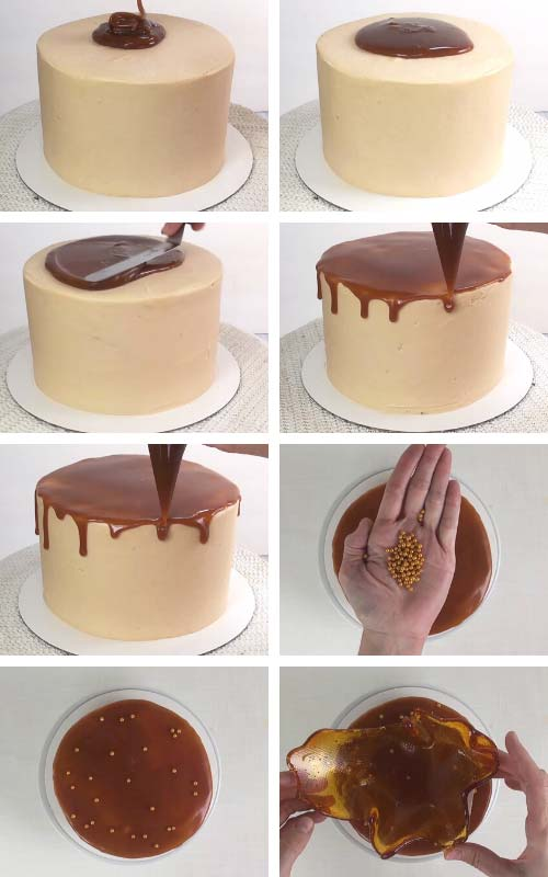 Piping caramel drips onto a cake.