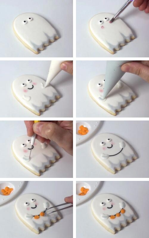 Decorating ghost cookies with orange pumpkin sprinkles.