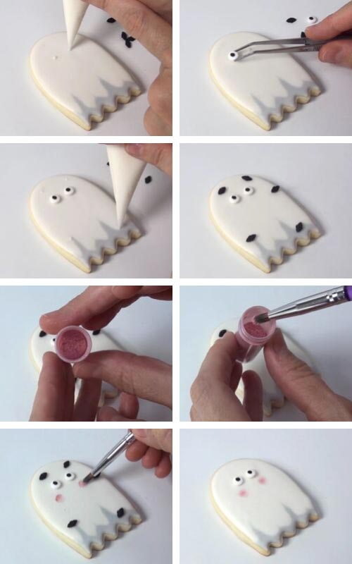Painting cheeks on ghost cookies with pink luster dust.