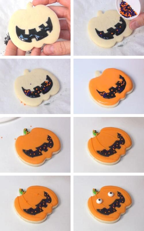 Decorated jack o lantern cookies with orange royal icing.