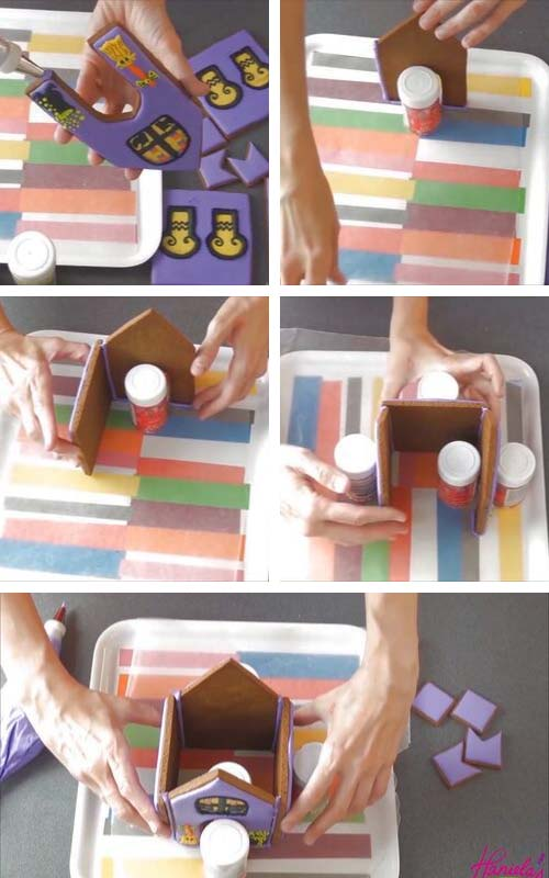 Gluing gingerbread house panels.