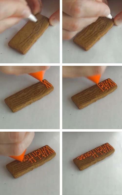 Drawing a wood grain pattern on a cookie with edible marker.