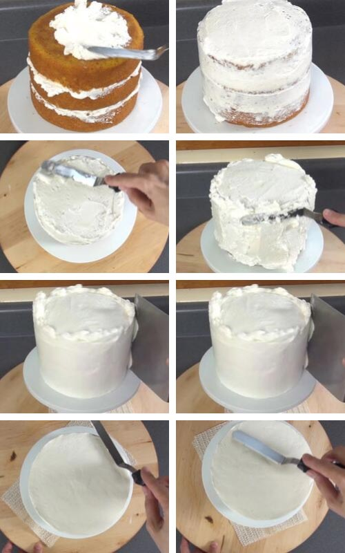Filling a and frosting a cake with buttercream.