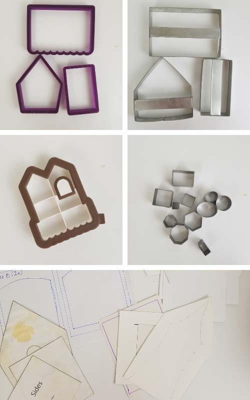 Gingerbread house cookie cutters and template on a table.