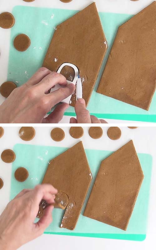 Cutting out a cookie shapes with exacto knife.