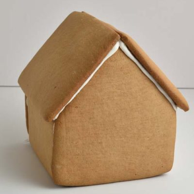Assembled undecorated gingerbread house.