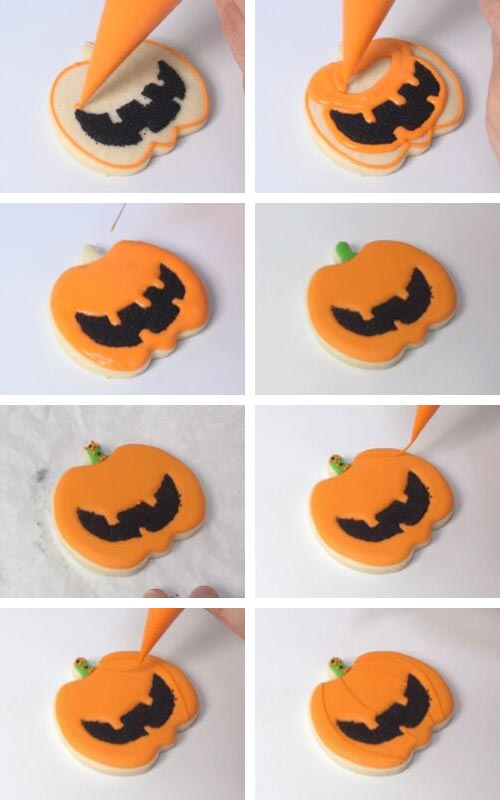 Flooding jack o lantern with orange royal icing.