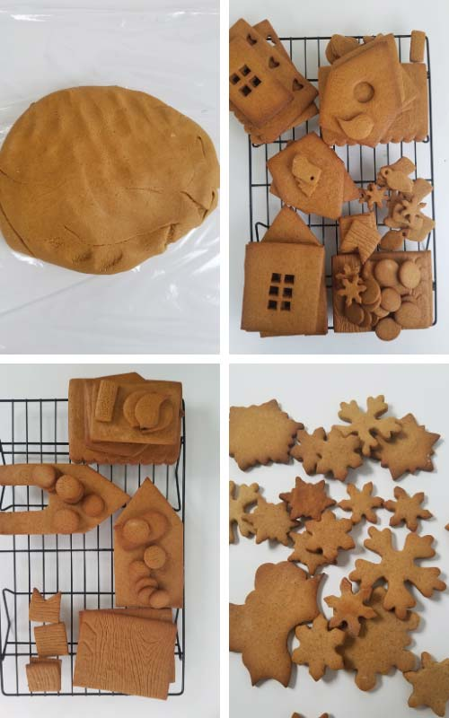 Baked gingerbread house panels layered on a cooling rack.