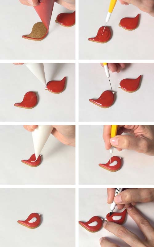 Flooding a small bird cookie with royal icing.