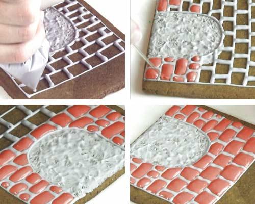 Piping brick pattern with royal icing.