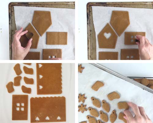 Cutting out heart shape from a gingerbread house panel.