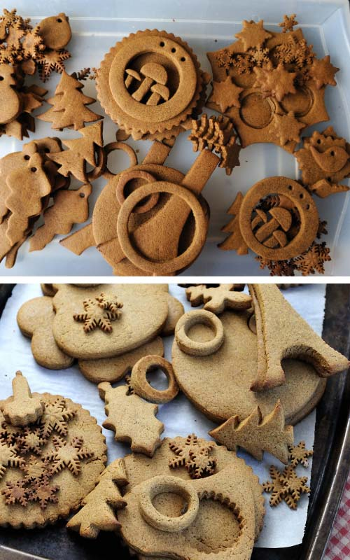 Baked gingerbread cookies on a tray.