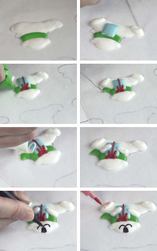 Piping a polar bear with royal icing onto a wax paper.