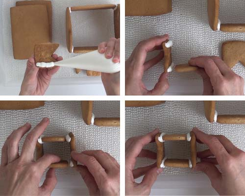 Gluing chimney cookies with royal icing.