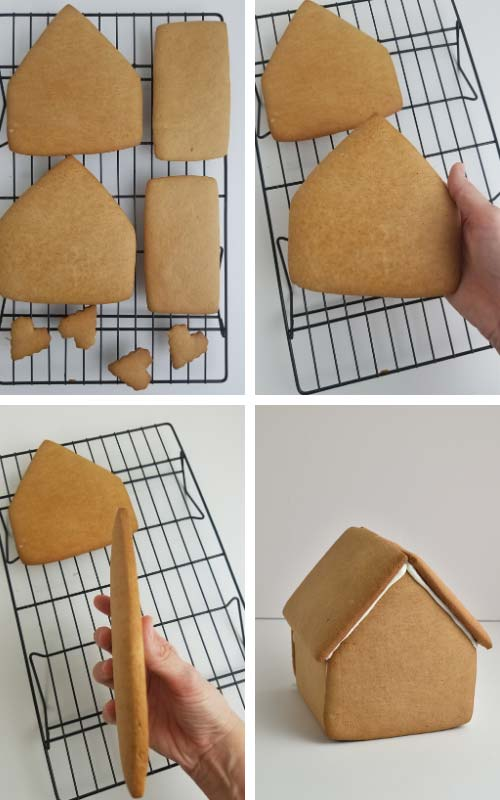 Gingerbread house cookie panels on a cooling rack.