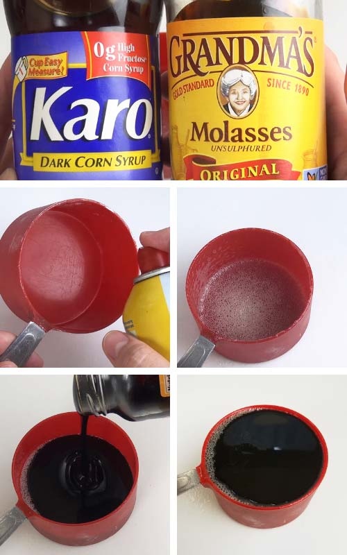 Spraying a measuring cup with nonstick spray and pouring molasses into the cup.