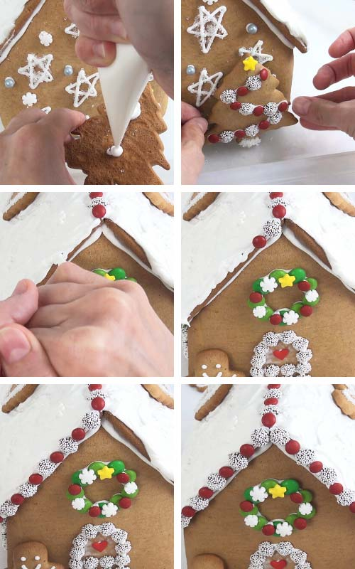 Gluing tree cookie on a back panel with royal icing.