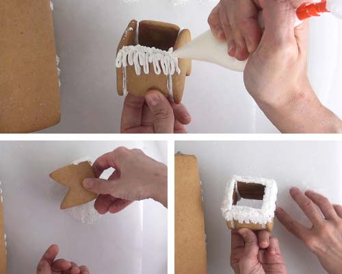 Decorating chimney cookie with white icing and sanding sugar.