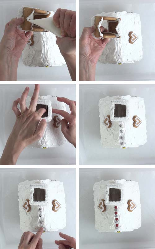 Attaching chimney onto a gingerbread house.