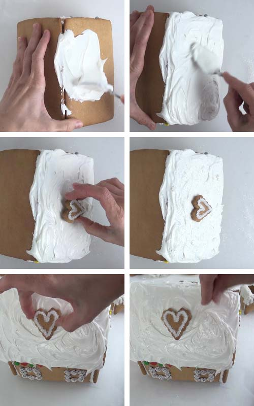 Spreading icing onto the roof, attaching a heart cookie into the iced roof.