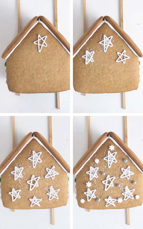 Piping star onto a back house panel and dusting them with sanding sugar.