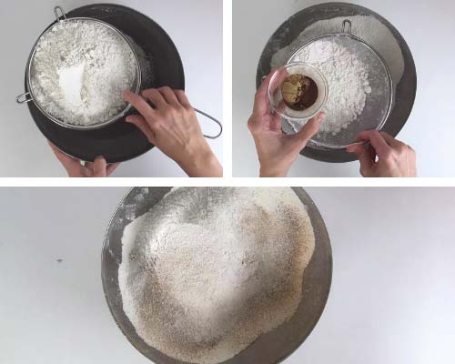Sifting flour and spices into a large bowl.
