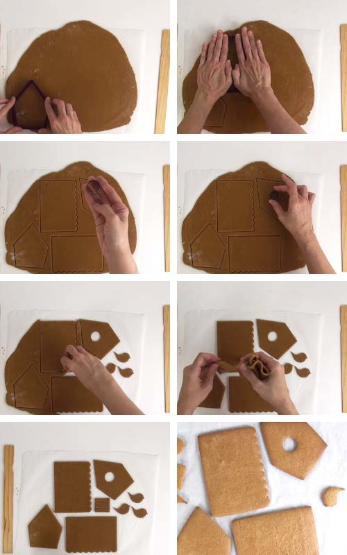 Cutting out gingerbread house panels form a rolled out cookie dough.