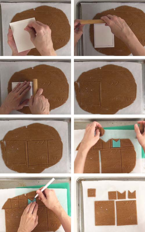 Cutting out cookies with a bench scrapper.