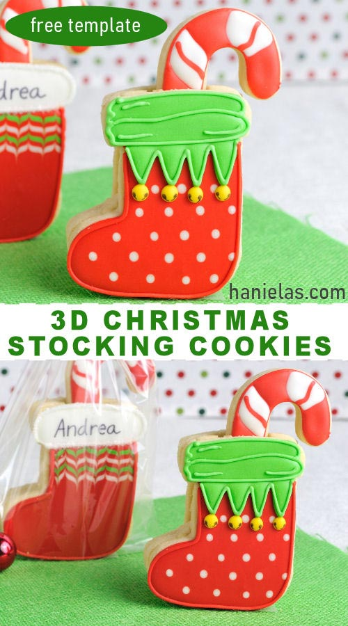 Decorated 3D Christmas stocking cookies displayed on a table.