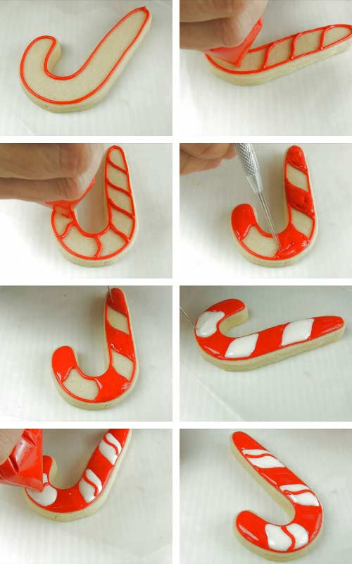 Piping red and white section on a candy cane cookie.