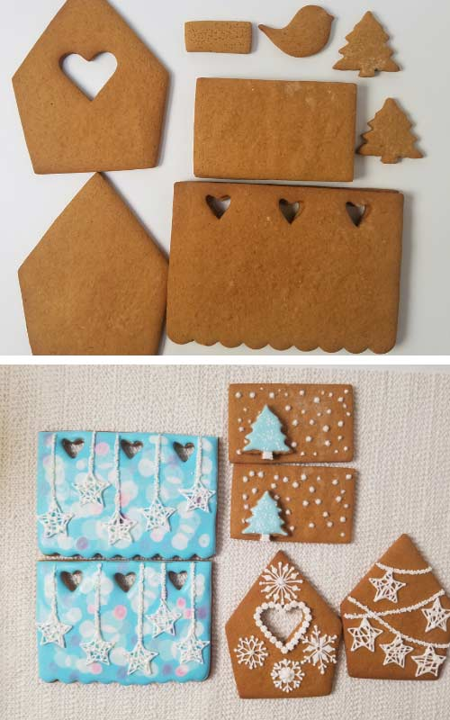 Undecorated gingerbread house panels lying down flat on a table.