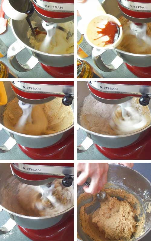 Beating flour into the butter sugar mixture.