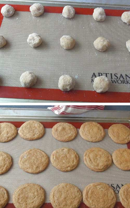 Cookie balls rolled in sugar on a baking sheet.