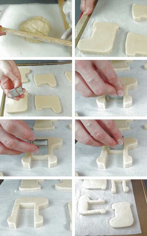 Hand cutting cookie using a template and exacto knife.