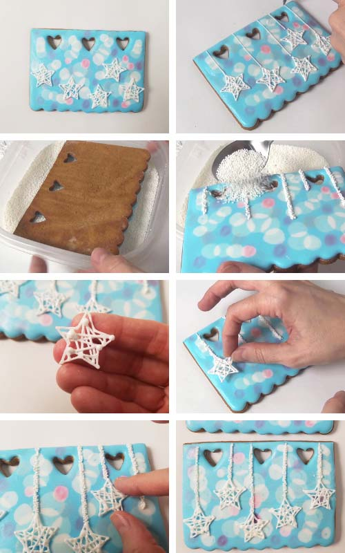 Gluing star wire royal icing ornament onto the cookie.