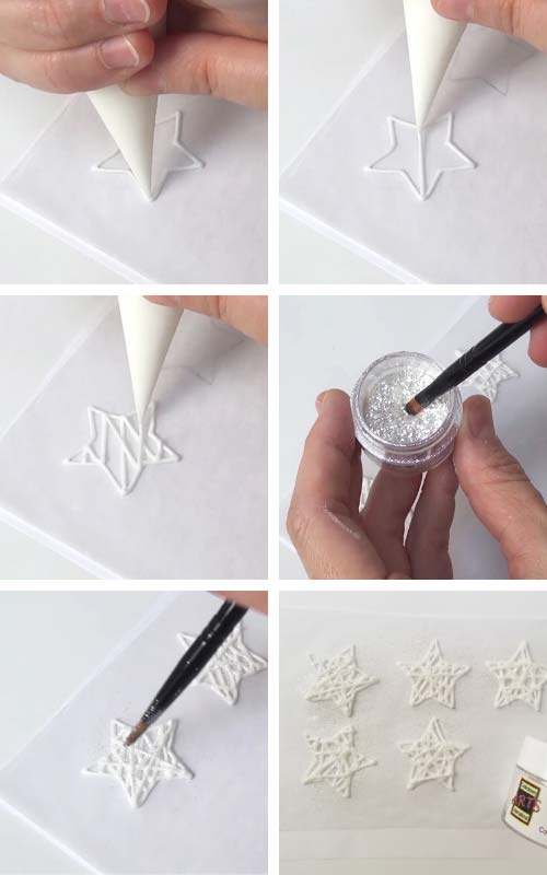 Piping royal icing white star wire ornament onto a parchment.